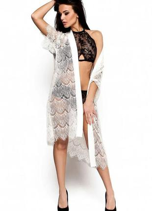 Кружевной белый женский халат 40-42, 44-46, 48-50