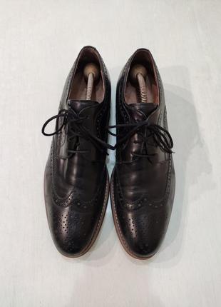 Dune стильные чёрные кожаные туфли броги