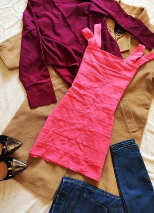H&m розовое платье резинка неоновое яркое мини