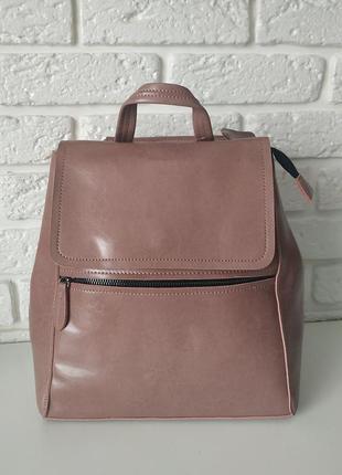 Фото реал! розовый кожаный сумка-рюкзак (трансформер)