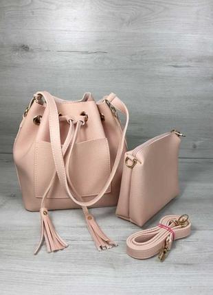 Набор сумка с клатчем 2в1 пудрового цвета