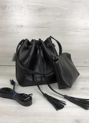 Набор сумка с клатчем 2в1 черного цвета