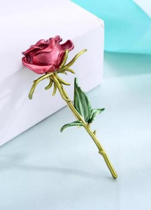 Брошь роза красная с эмалью
