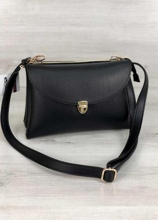 Женская сумочка кросс-боди на два отделения черного цвета