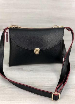 Женская сумочка кросс-боди на два отделения черного с красным ...