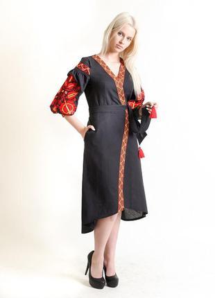 Вышиванка. обалденное платье с вышивкой на домотканом полотне ...