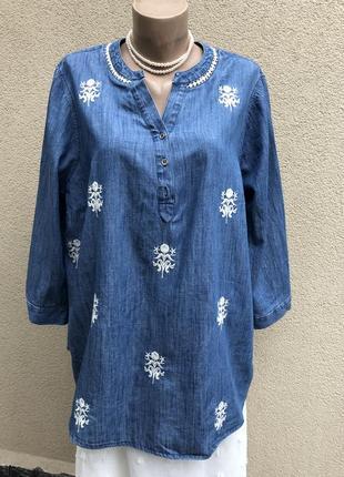 Джинсовая рубашка,блуза с вышивкой,большой размер,
