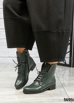 ❤ женские оливковые зимние низкие кожаные ботинки сапоги ботил...