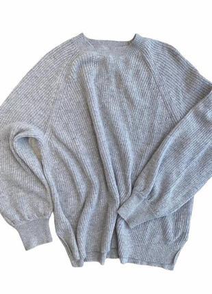 Серый трендовый свитер оверсайз m&s, вязаная женская туника. s...