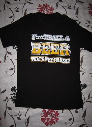 Футболка с надписью football & beer