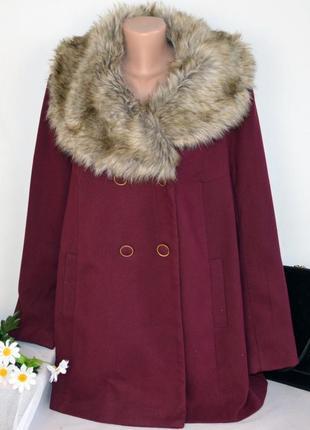 Бордовое пальто с меховым воротником и карманами tu вьетнам бо...