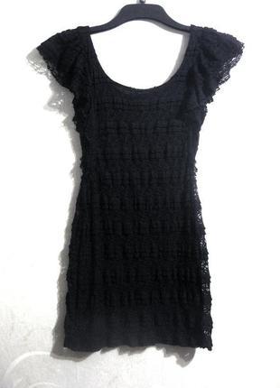 Платье divided h&m чёрное гипюр кружево короткое обтягивающее ...