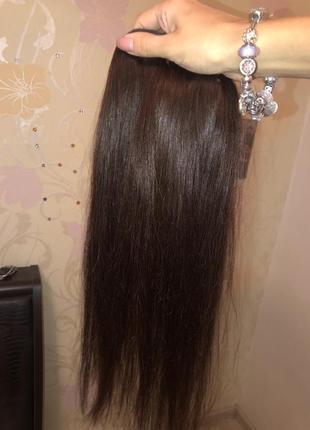 Натуральные волосы на заколках ! коричневый цвет)