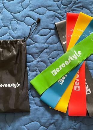 Набор фитнес-резинок эспандеров для спорта, 5шт+мешок