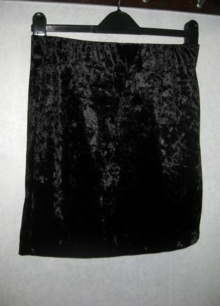 Юбка esmara мини вельвет чёрная на резинке