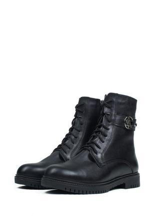 Зимние кожаные ботинки на овчине в стиле dr martens
