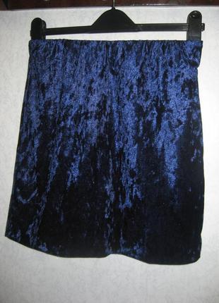 Юбка esmara мини вельвет синяя на резинке