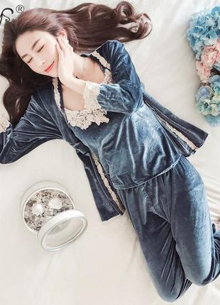 Пижама вельветовая из трех элементов топ+штаны+халат