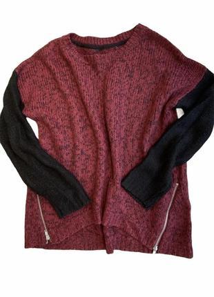 Женский вязаный свитер с молниями , вязаная туника