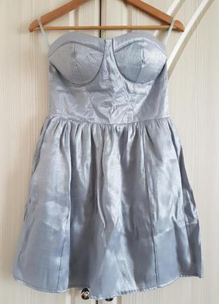 Серебристое платье бюстье от pink woman.
