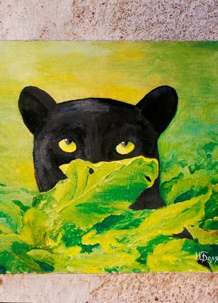 "Картина ""Взгляд пантеры"" (животное, холст, масло) 30х25 см"