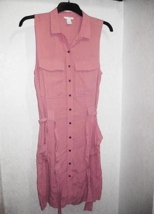 Платье на пуговицах длинная рубашка пудрового цвета h&m с поясом