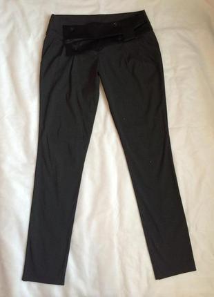 Нарядные школьные черные брюки с атласным бантом, s-xs