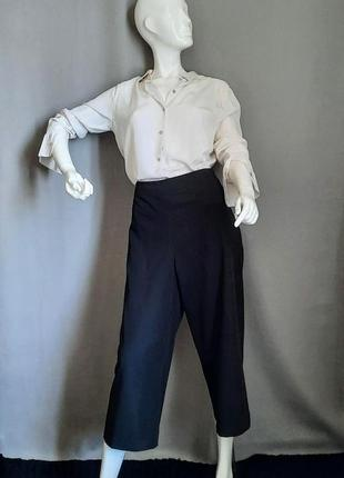 Черные базовые кюлоты широкие  брюки с высокой посадкой