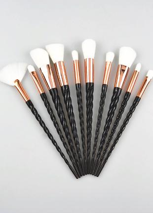 Кисти для макияжа, 10 шт черные ручки единорог