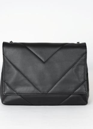 Черная молодежная большая сумка-клатч кросс-боди на плечо