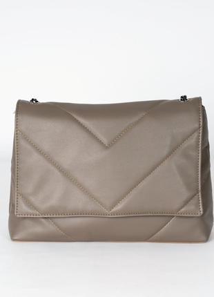 Оливковая сумка-клатч большая кросс-боди через плечо