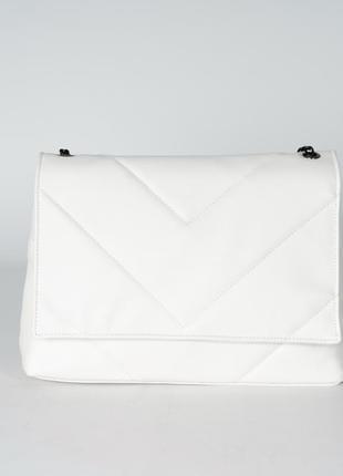 Белая большая сумка-клатч через плечо молодежная сумочка кросс...