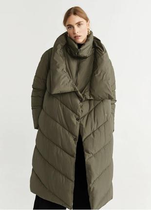 Стёганый анорак куртка удлинённая оверсайз плащ дутик пуховик ...