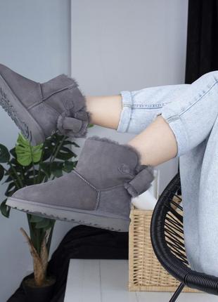 Ugg mini grey, женские угги, зимние с мехом.