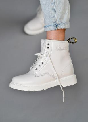 💠dr martens 1460 white с мехом💠зимние женские белые кожаные бо...
