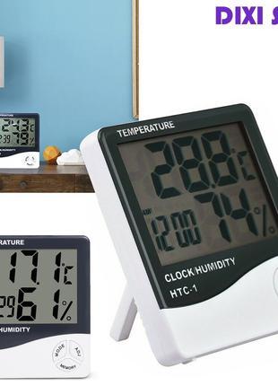 Часы Термометр Гигрометр с выносным датчиком HTC-2 (мини метеоста