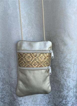 Кожаная оригинальная сумочка кросс-боди borelli bags через пле...