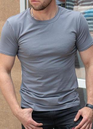 Мужская серая футболка однотонная