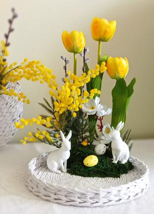Плетёная тарелочка с пасхальным декором
