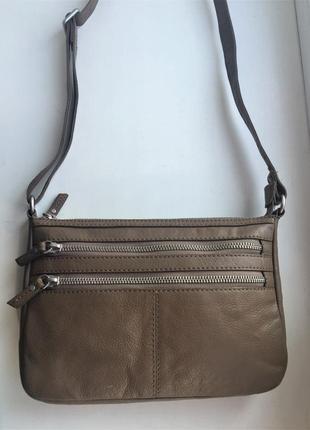 Кожаная сумка через плечо, кросс-боди, коричневая, натуральная...
