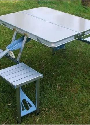 Стол складной алюминиевый для пикника со стульями, туристический
