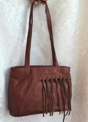 Кожаная сумка с бахромой gigi, коричневая, натуральная кожа!
