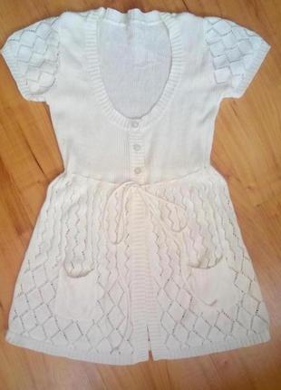 Вязаный кардиган, сарафан,туника, платье на 6-9 лет