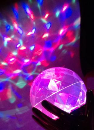 LED Диско-лампа проектор руки с шаром LED FULL COLOR ROTATING LAM