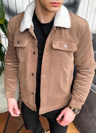 Стильная мужская весенняя вельветовая куртка с воротником