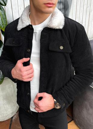 Стильная мужская весенняя куртка ветровка с воротником черная