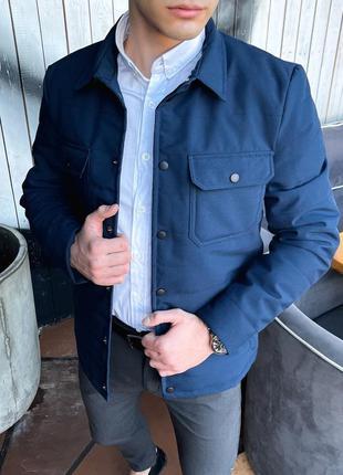 Классическая весенняя куртка ветровка синяя