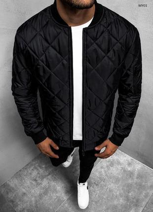 Стильный весенний бомбер куртка ветровка черный