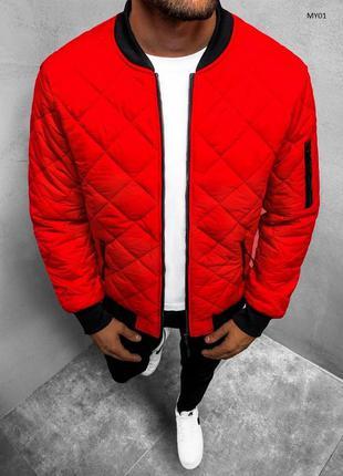 Стильный мужской весенний бомбер куртка ветровка красный