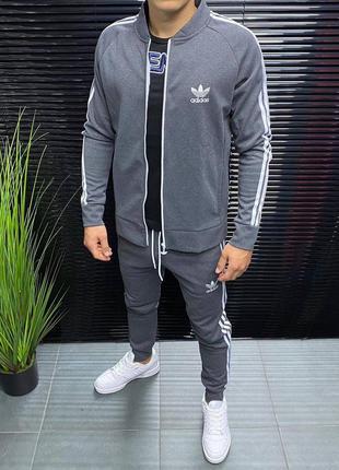 Стильный мужской спортивный костюм adidas серый на молнии